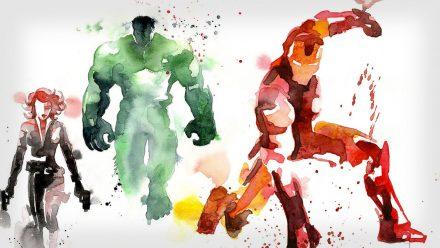 14 artes de heróis em aquarela